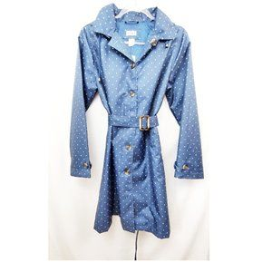 CAPELLI NEW YORK Polka Dot Navy Blue Raincoat NWT